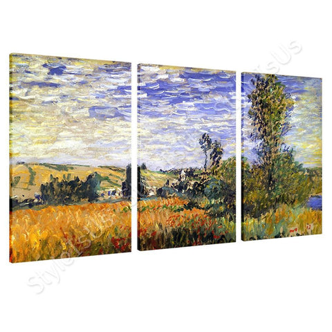 Claude Monet Landscape At Vetheuil 3 Panels | Canvas, Posters, Prints & Stickers - StyleIsUS.com