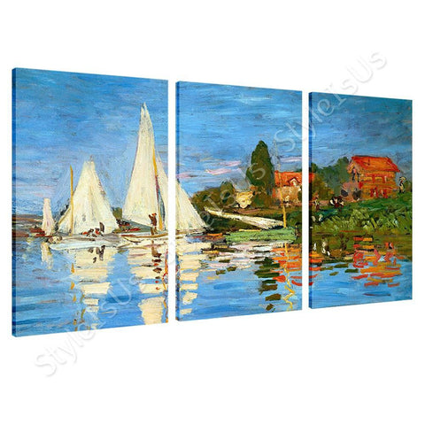 Claude Monet Regatta at argenteuil 3 Panels | Canvas, Posters, Prints & Stickers - StyleIsUS.com