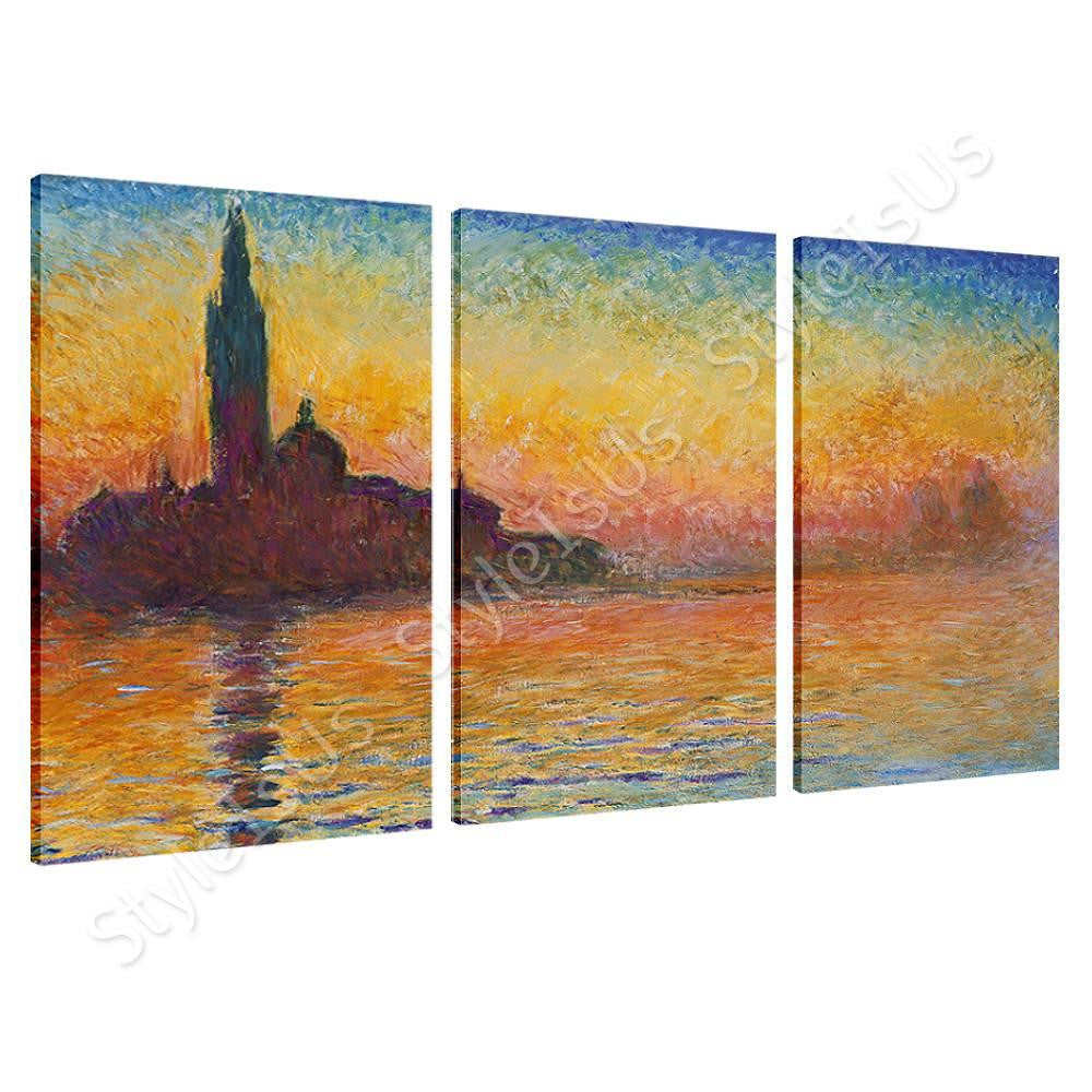 Claude Monet San giorgio maggiore at dusk 3 Panels | Canvas, Posters, Prints & Stickers - StyleIsUS.com