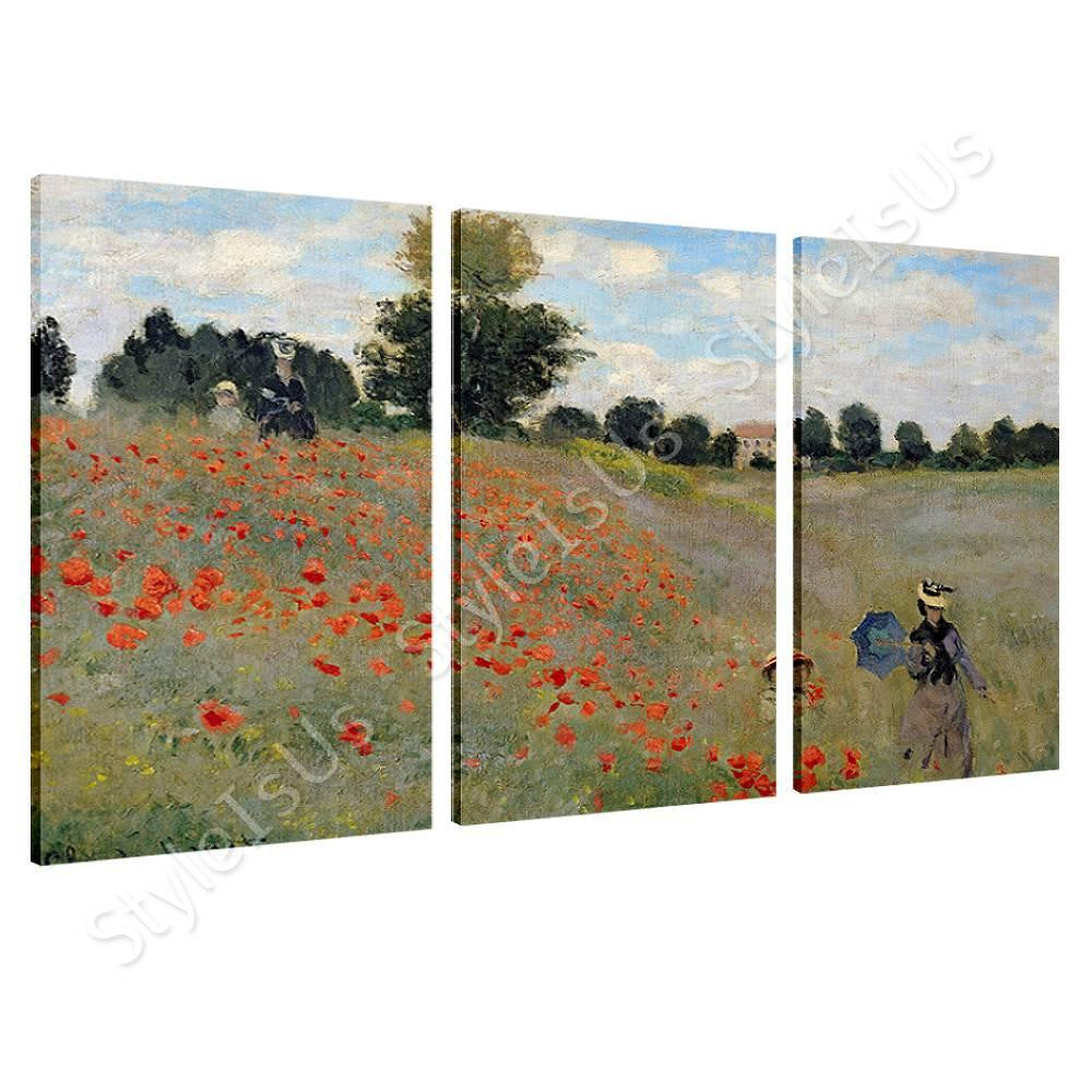 Claude Monet Wild Poppies Near Argenteuil 3 Panels | Canvas, Posters, Prints & Stickers - StyleIsUS.com