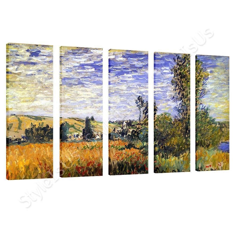 Claude Monet Landscape At Vetheuil 5 Panels | Canvas, Posters, Prints & Stickers - StyleIsUS.com