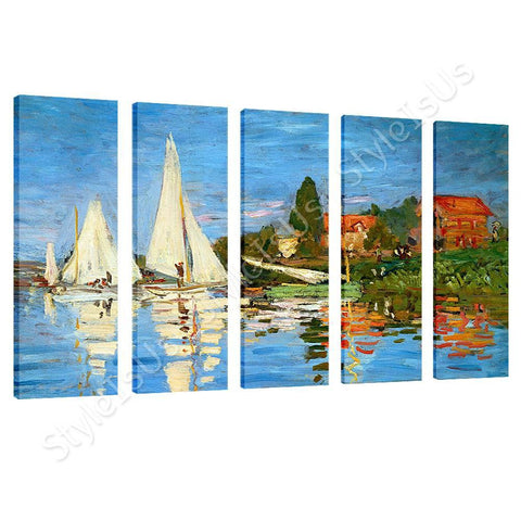 Claude Monet Regatta at argenteuil 5 Panels | Canvas, Posters, Prints & Stickers - StyleIsUS.com