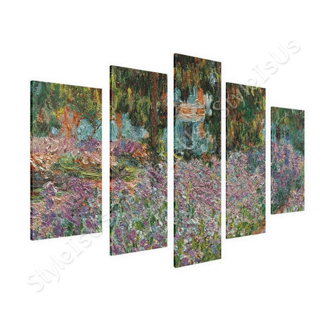 Claude Monet Irises in monets garden  5 Panels | Canvas, Posters, Prints & Stickers - StyleIsUS.com