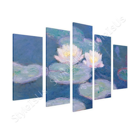 Claude Monet Water lilies 5 Panels | Canvas, Posters, Prints & Stickers - StyleIsUS.com