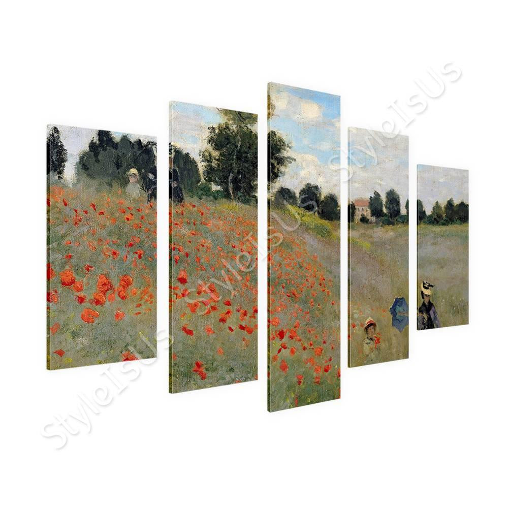 Claude Monet Wild Poppies Near Argenteuil 5 Panels | Canvas, Posters, Prints & Stickers - StyleIsUS.com