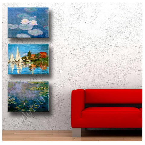 Claude Monet Water lilies Regatta Set Of 3 | Canvas, Posters, Prints & Stickers - StyleIsUS.com