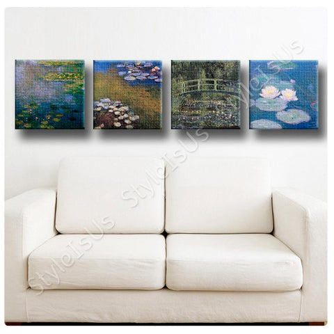 Claude Monet Water lilies Set Of 4 | Canvas, Posters, Prints & Stickers - StyleIsUS.com