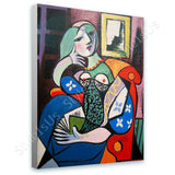 Pablo Picasso Woman With Book | Canvas, Posters, Prints & Stickers - StyleIsUS.com