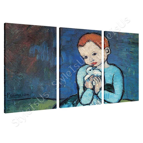 Pablo Picasso Child Holding A Dove 3 Panels | Canvas, Posters, Prints & Stickers - StyleIsUS.com