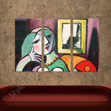 Pablo Picasso Woman With Book 3 Panels | Canvas, Posters, Prints & Stickers - StyleIsUS.com