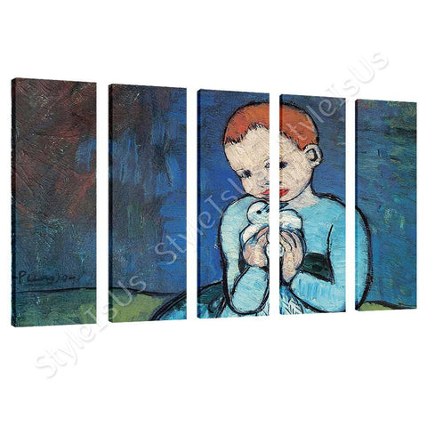 Pablo Picasso Child Holding A Dove 5 Panels | Canvas, Posters, Prints & Stickers - StyleIsUS.com