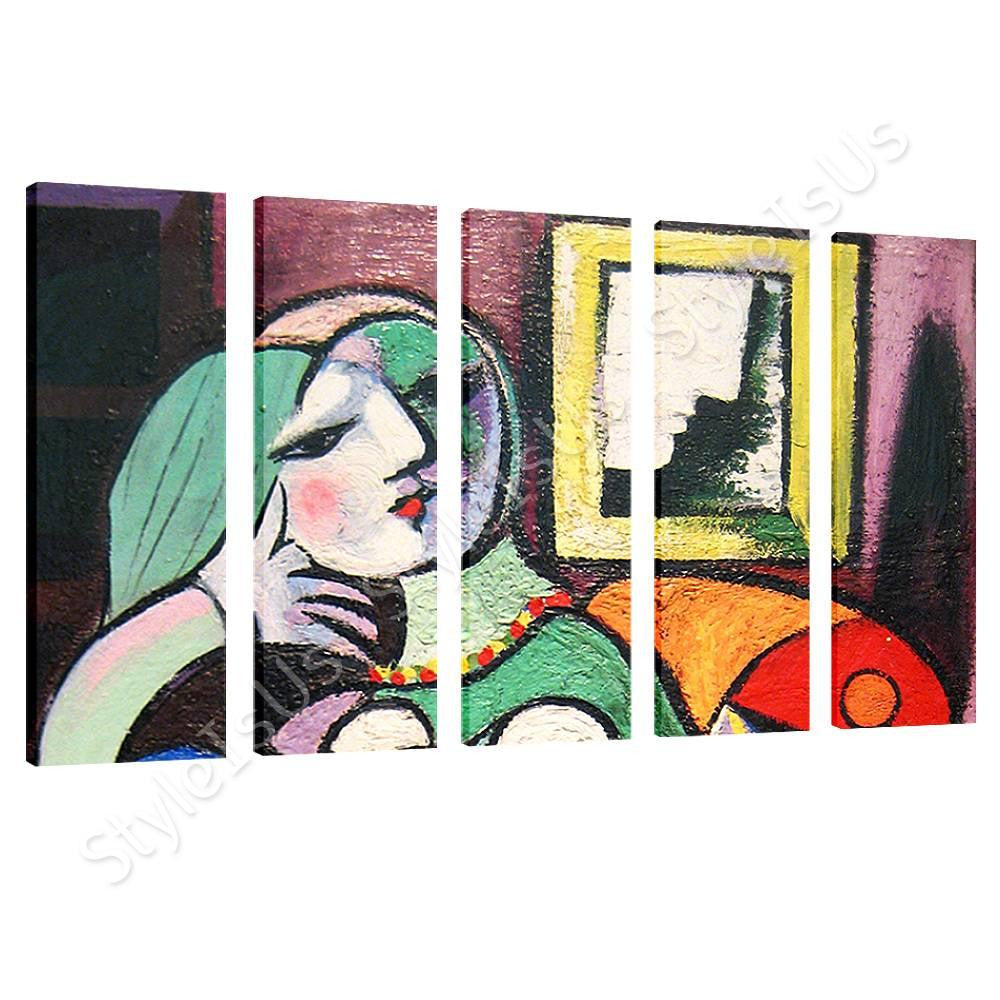 Pablo Picasso Woman With Book 5 Panels | Canvas, Posters, Prints & Stickers - StyleIsUS.com