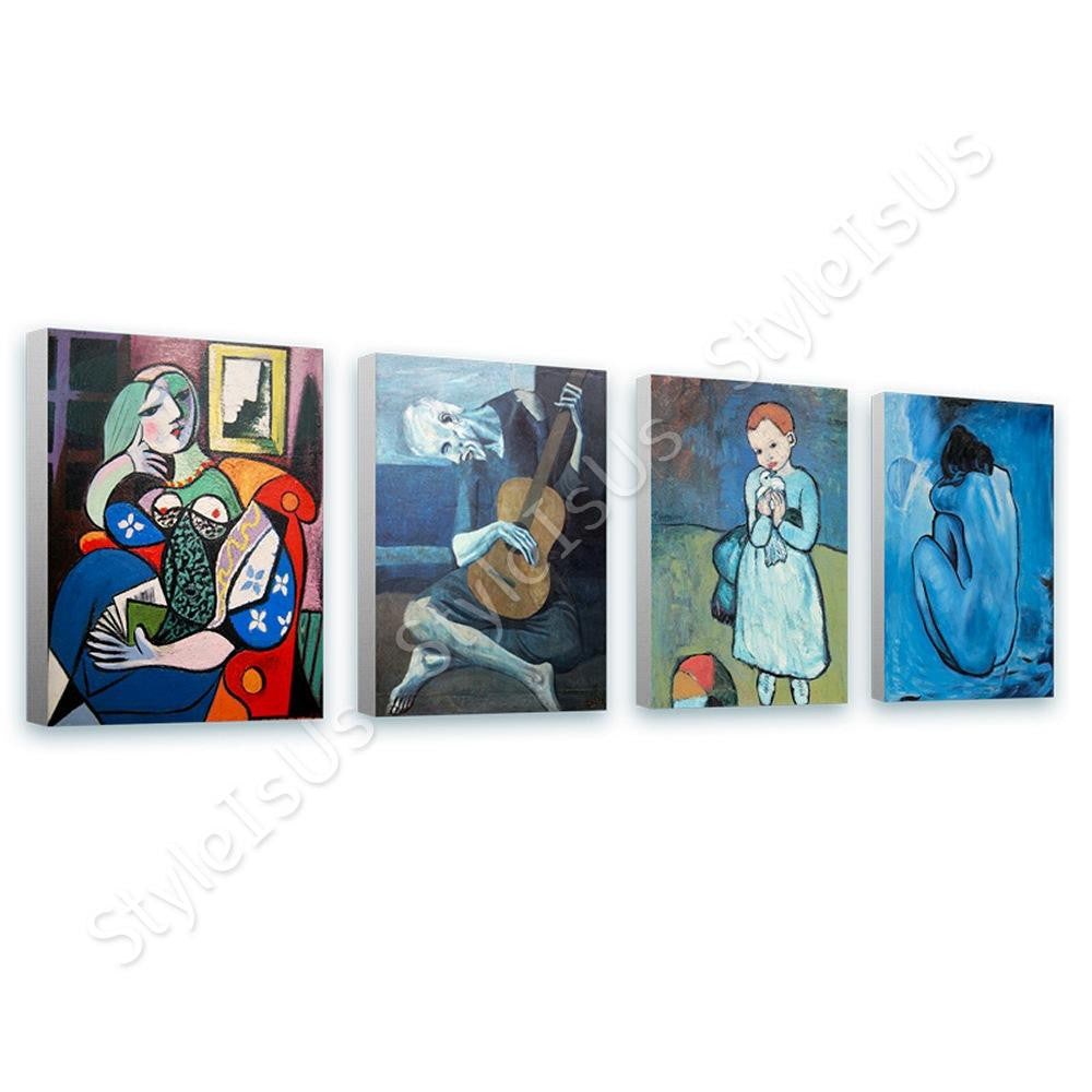 Pablo Picasso lady book guitarist blue Set Of 4 | Canvas, Posters, Prints & Stickers - StyleIsUS.com