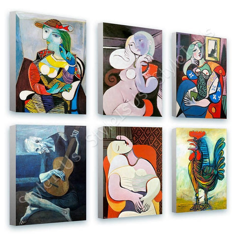 Pablo Picasso marie terese rooster book guitarist Set Of 6 | Canvas, Posters, Prints & Stickers - StyleIsUS.com