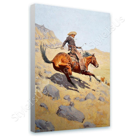 Frederic Remington The Cowboy | Canvas, Posters, Prints & Stickers - StyleIsUS.com