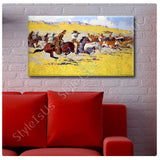 Frederic Remington The Fight For The Stolen Herd | Canvas, Posters, Prints & Stickers - StyleIsUS.com