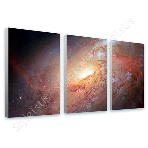 Space Galaxy Stars Hubble M 106 nasa astronomic 3 Panels | Canvas, Posters, Prints & Stickers - StyleIsUS.com