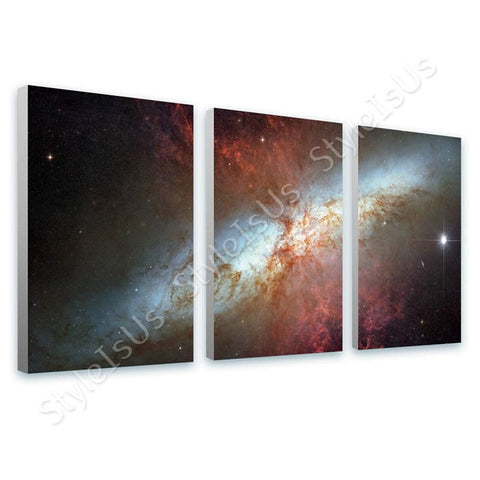 Space Galaxy Starburst galaxy Messier 82 M82 hubble 3 Panels | Canvas, Posters, Prints & Stickers - StyleIsUS.com