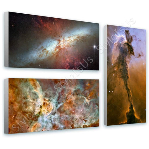 Space Galaxy Stars hubble nasa astronomy Set Of 3 | Canvas, Posters, Prints & Stickers - StyleIsUS.com