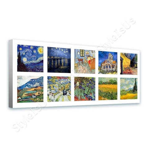 Vincent van Gogh Collage 10 starry night rhone cafe church alpes | Canvas, Posters, Prints & Stickers - StyleIsUS.com