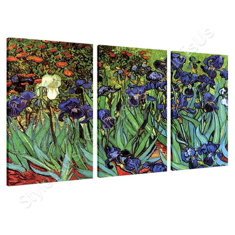 Vincent van Gogh Irises 3 Panels | Canvas, Posters, Prints & Stickers - StyleIsUS.com