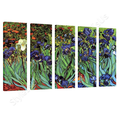 Vincent van Gogh Irises 5 Panels | Canvas, Posters, Prints & Stickers - StyleIsUS.com