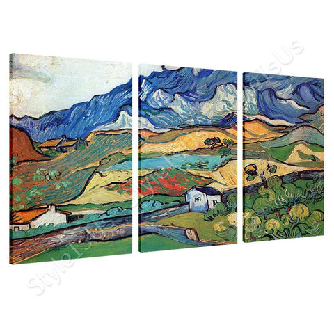 Vincent van Gogh Les Alpilles Alps  3 Panels | Canvas, Posters, Prints & Stickers - StyleIsUS.com