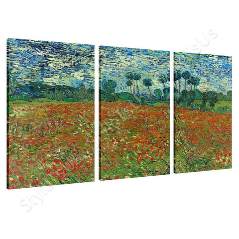 Vincent van Gogh Poppy field 3 Panels | Canvas, Posters, Prints & Stickers - StyleIsUS.com