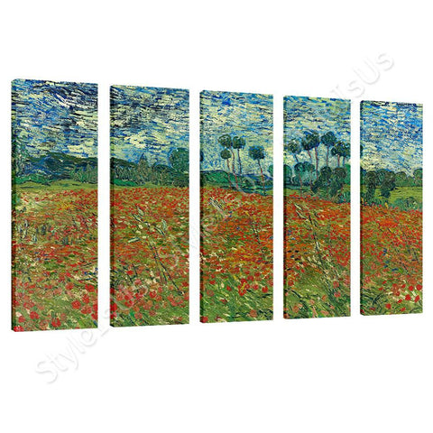 Vincent van Gogh Poppy field 5 Panels | Canvas, Posters, Prints & Stickers - StyleIsUS.com