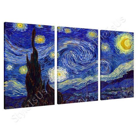 Vincent van Gogh Starry Night 3 Panels | Canvas, Posters, Prints & Stickers - StyleIsUS.com