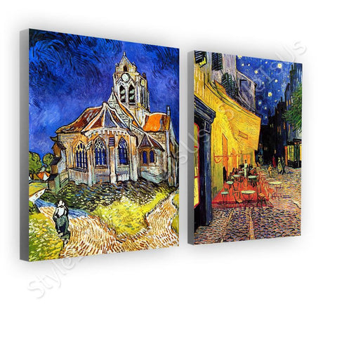 Vincent van Gogh church cafe terasse Set Of 2 | Canvas, Posters, Prints & Stickers - StyleIsUS.com