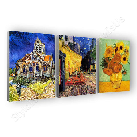 Vincent van Gogh bedroom starry night irises Set Of 3 | Canvas, Posters, Prints & Stickers - StyleIsUS.com