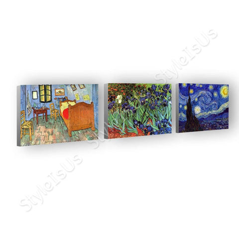 Vincent van Gogh sun flowers church cafe Set Of 3 | Canvas, Posters, Prints & Stickers - StyleIsUS.com