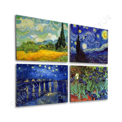 Vincent van Gogh irises starry night field Set Of 4 | Canvas, Posters, Prints & Stickers - StyleIsUS.com