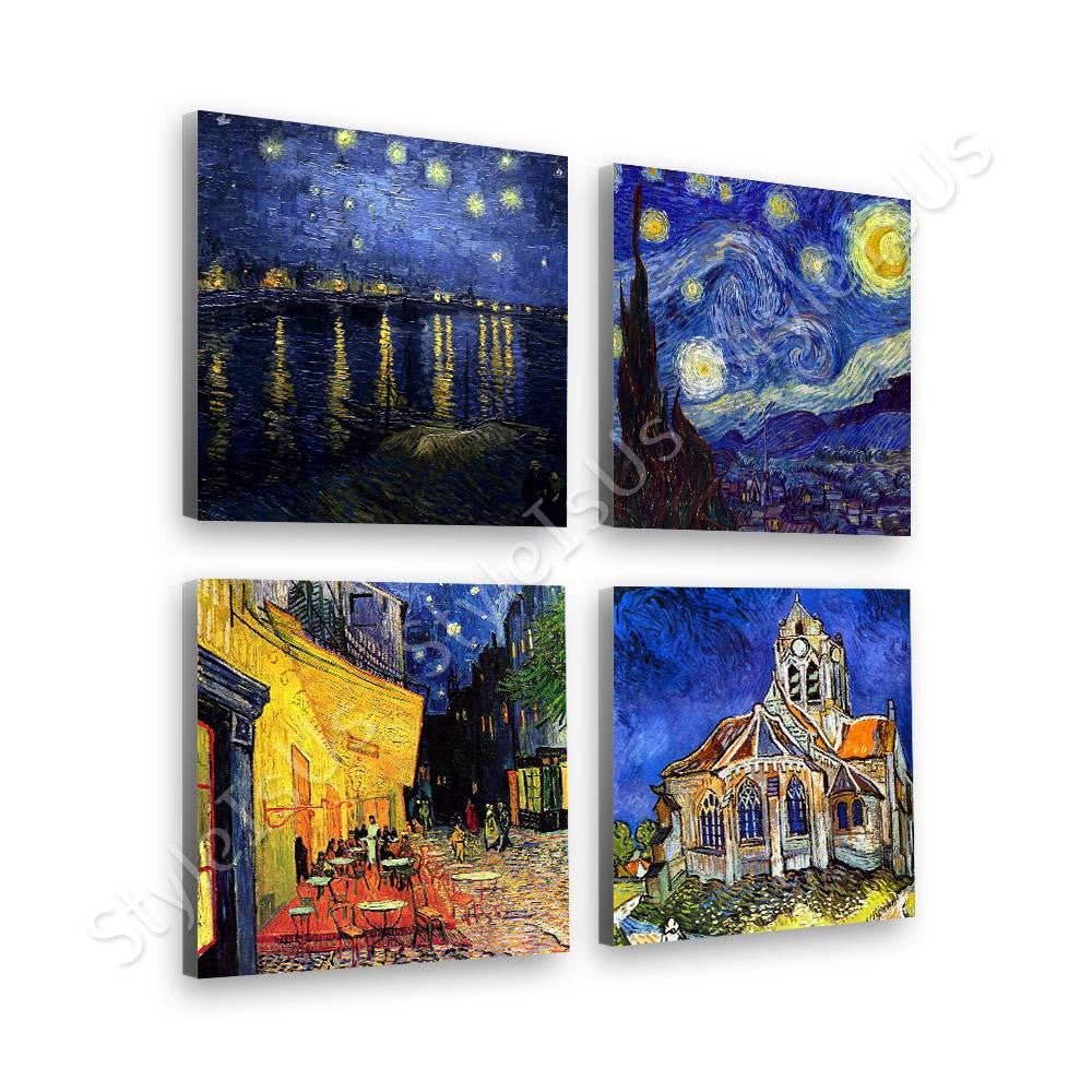 Vincent van Gogh starry night rhine church cafe Set Of 4 | Canvas, Posters, Prints & Stickers - StyleIsUS.com