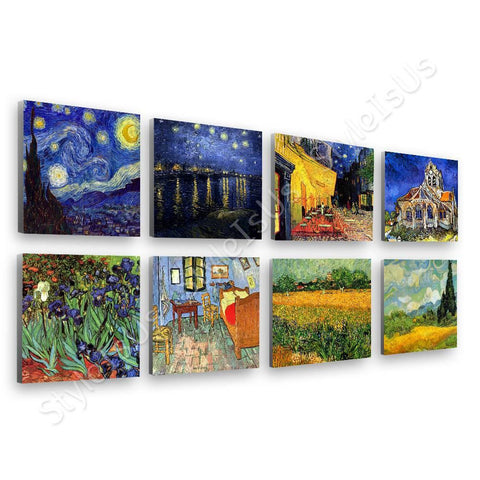 Vincent van Gogh starry night rhone cafe irises Set Of 8 | Canvas, Posters, Prints & Stickers - StyleIsUS.com