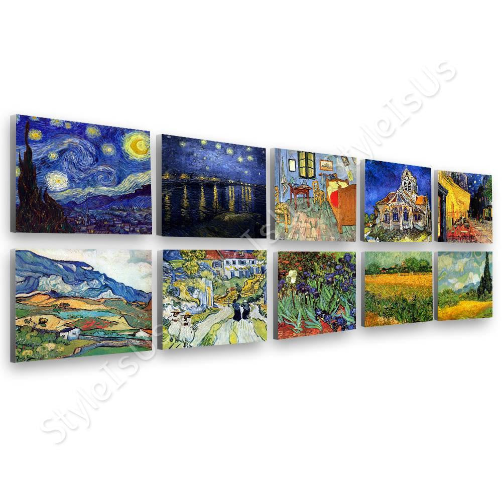 Vincent van Gogh irises cafe starry night bedroom Set Of 10 | Canvas, Posters, Prints & Stickers - StyleIsUS.com
