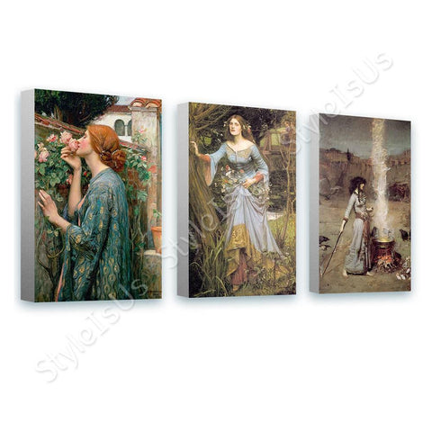 Waterhouse rose ophelia smoke Set Of 3 | Canvas, Posters, Prints & Stickers - StyleIsUS.com