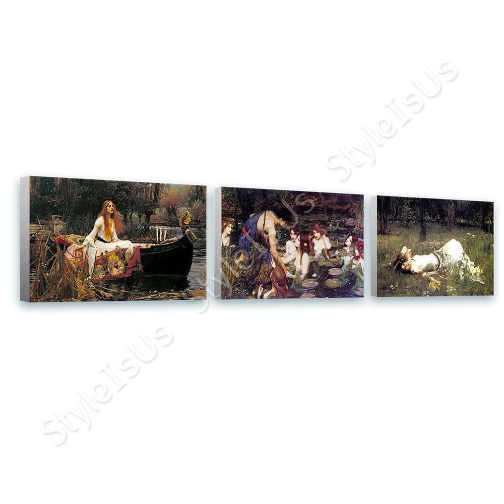 Waterhouse lady shalott nymphs ophelia Set Of 3 | Canvas, Posters, Prints & Stickers - StyleIsUS.com