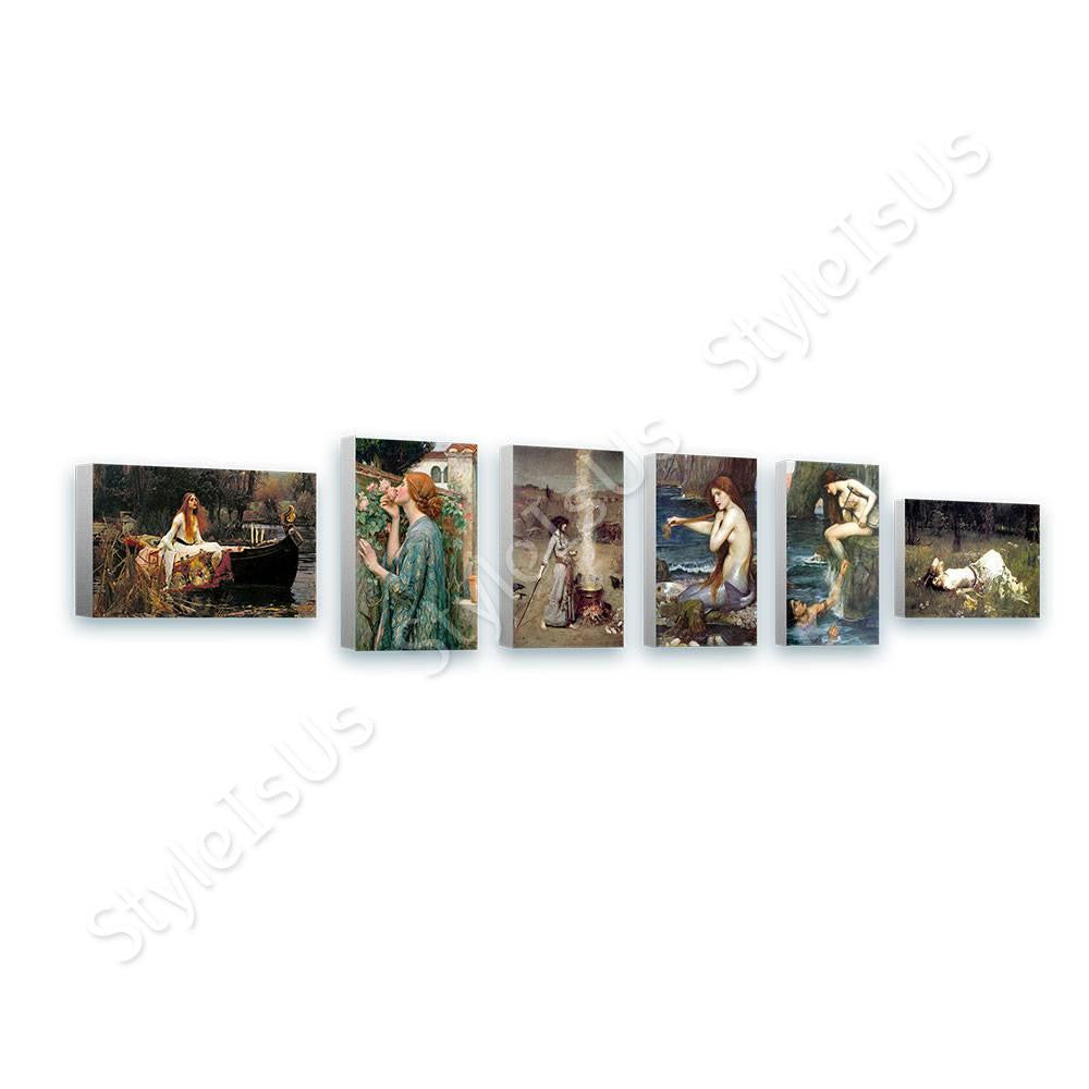 Waterhouse lady shalott rose smoke mermaid Set Of 6 | Canvas, Posters, Prints & Stickers - StyleIsUS.com