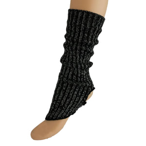 40cm LUREX STIRRUP LEGWARMERS Knitwear Dancers World Black Lurex