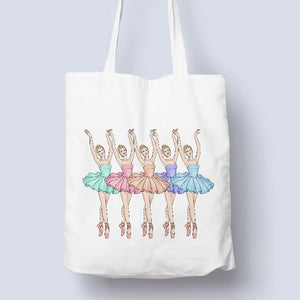 5 BALLERINAS - TOTE BAG - FREE PERSONALISATION IF REQUIRED Tote Bag Personally Printed White Tote Single Side Print - Blue