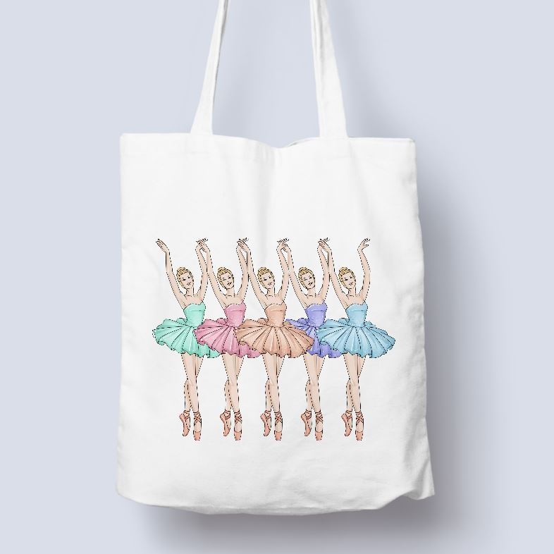5 BALLERINAS - TOTE BAG - FREE PERSONALISATION IF REQUIRED Tote Bag Personally Printed Natural Tote Single Side Print - Blue