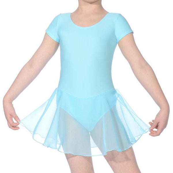 ABBI - ISTD STYLE SHORT SLEEVE SKIRTED LEOTARD Dancewear Dancers World Aqua 00 (Age 2-4)
