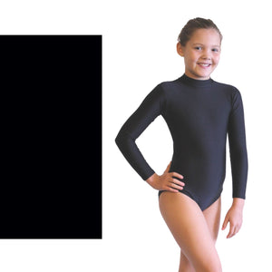 ANNABEL - LONG SLEEVE POLO NECK LEOTARD Dancewear Dancers World Black 000 (Toddler)