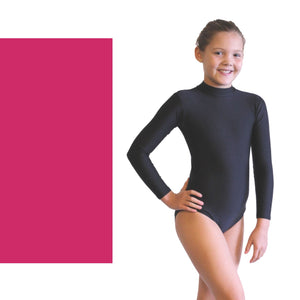 ANNABEL - LONG SLEEVE POLO NECK LEOTARD Dancewear Dancers World Cerise 00 (Age 2-4)