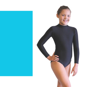 ANNABEL - LONG SLEEVE POLO NECK LEOTARD Dancewear Dancers World Kingfisher 00 (Age 2-4)