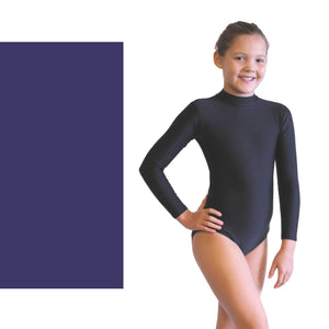 ANNABEL - LONG SLEEVE POLO NECK LEOTARD Dancewear Dancers World Navy Blue 00 (Age 2-4)