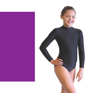 ANNABEL - LONG SLEEVE POLO NECK LEOTARD Dancewear Dancers World Purple 00 (Age 2-4)