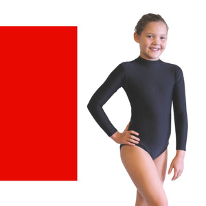 ANNABEL - LONG SLEEVE POLO NECK LEOTARD Dancewear Dancers World Red 00 (Age 2-4)